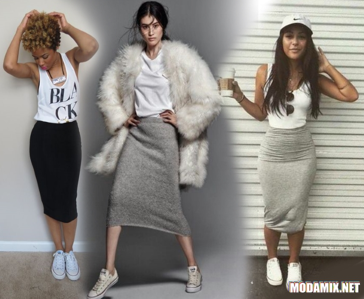 Трикотажная прямая юбка с чем носить