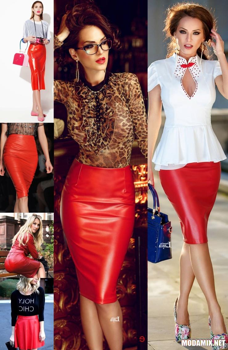 Образы с кожаной красной юбкой
