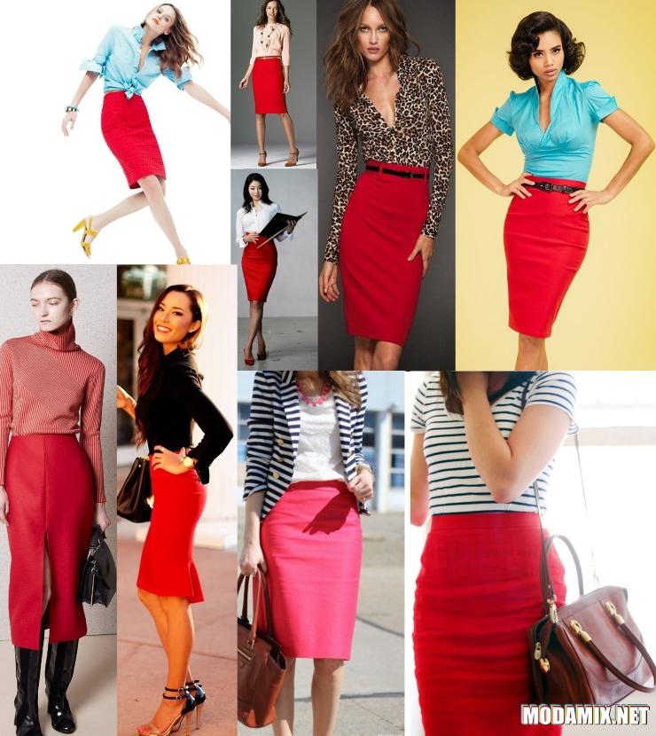 Что лучше одеть с красной юбкой