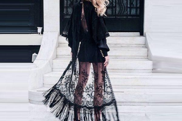 Кружевная черная юбка макси размера