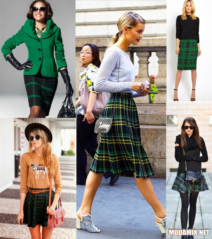 Серо-зеленая юбка