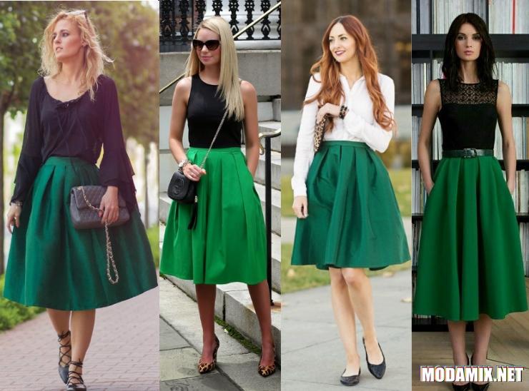 Зелёная юбка в складку