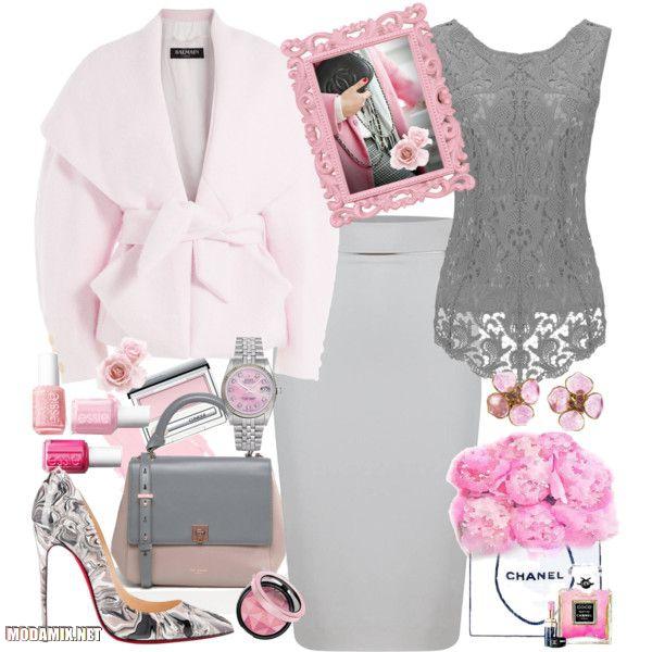 С чем носить серую юбку карандаш фото вариаций с розовым пальто