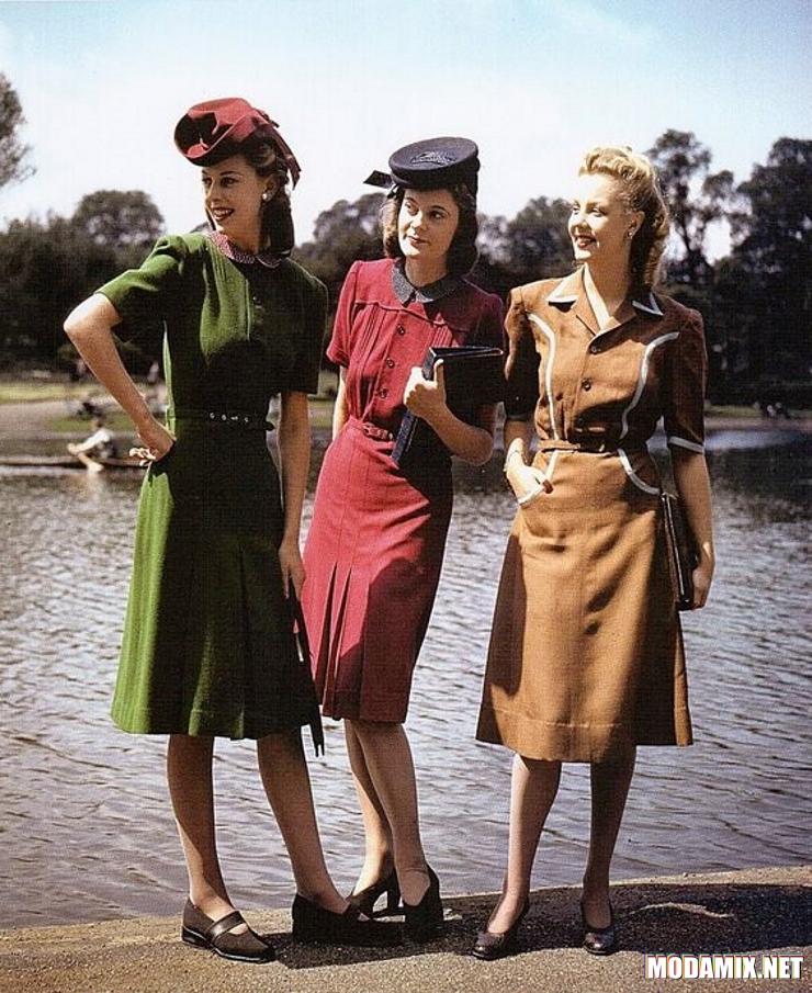 Стиль 40-х в платьях с воротниками