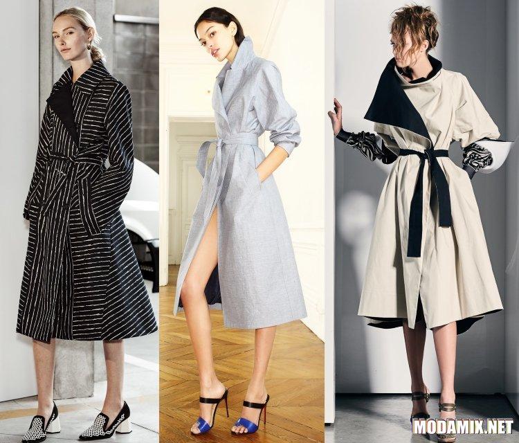 Модные пальто весна 2017 на поясе