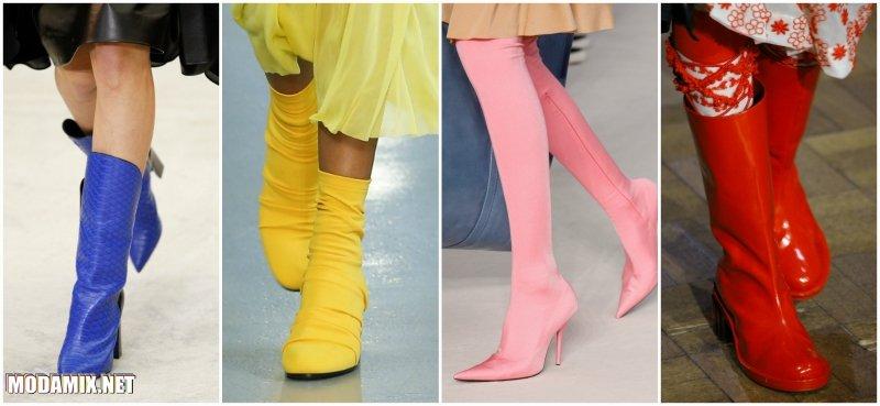 Модные яркие сапоги 2017 Весна в сочных тонах