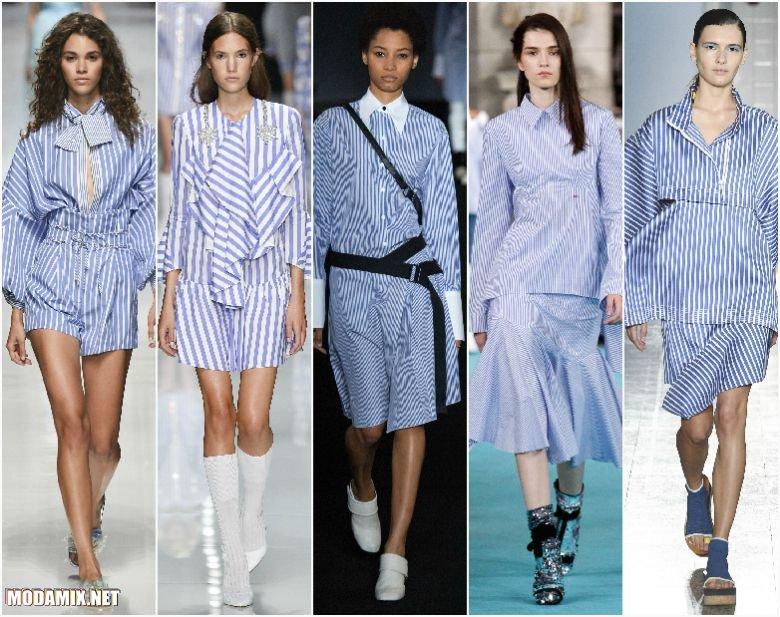 Одежда в полоску бело-голубого цвета