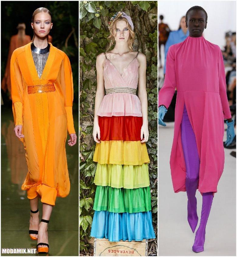 Разноцветные платья 2017