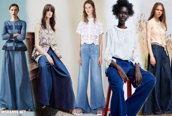 Длинные расклешенные джинсы на весну 2017