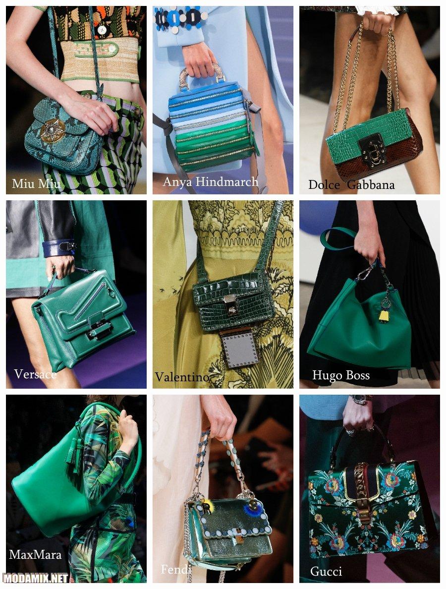 Зеленый цвет сумок 2017 года