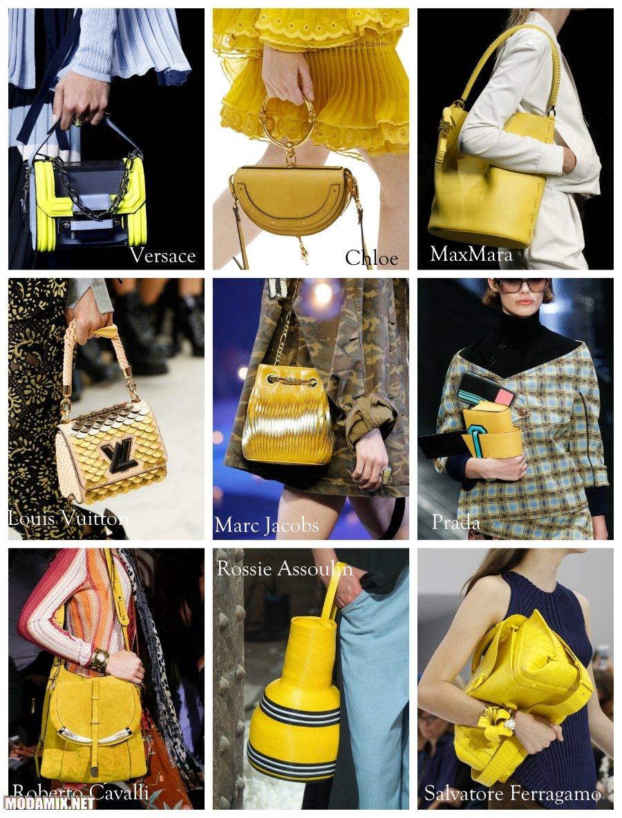 Желтый цвет сумок 2017 года