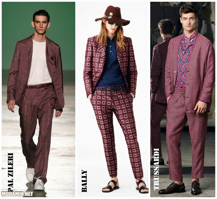 Модные мужские костюмы 2017 фото бордовых оттенков