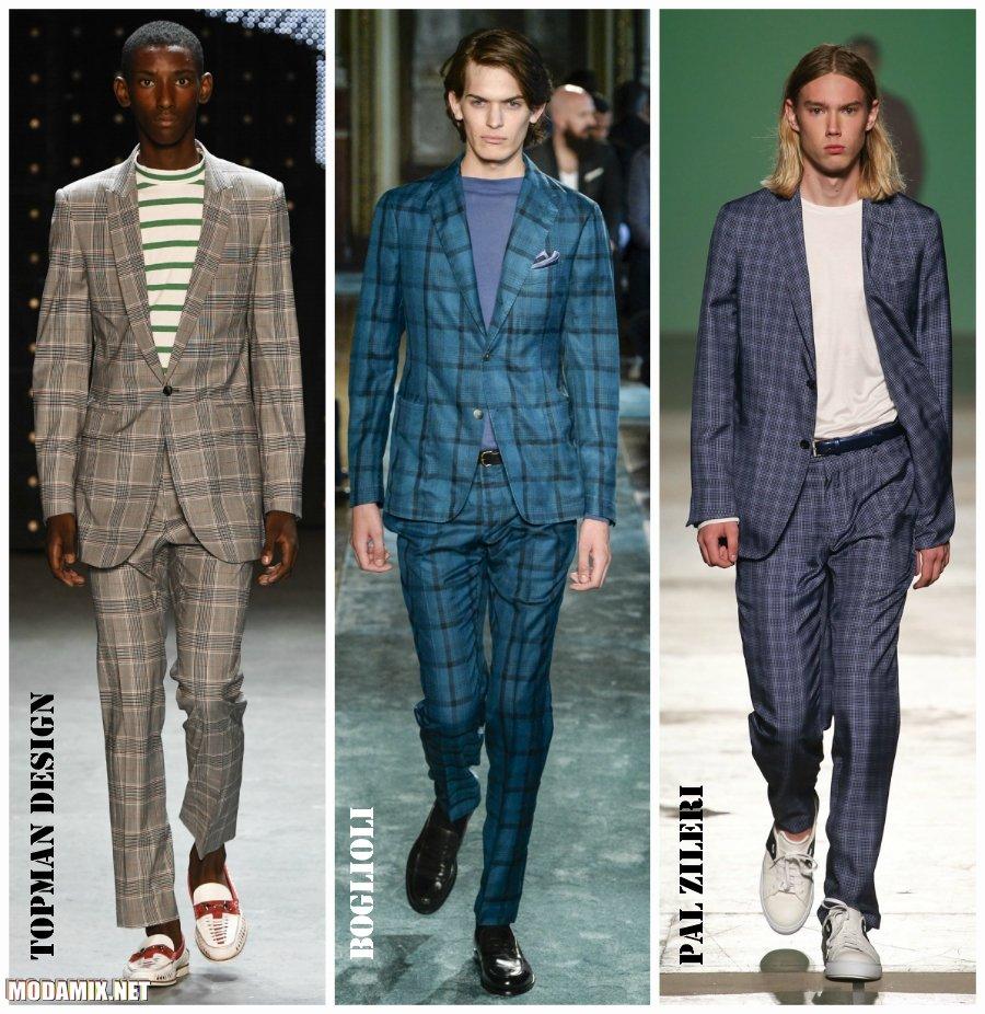 Модные мужские костюмы 2017 фото в клетку