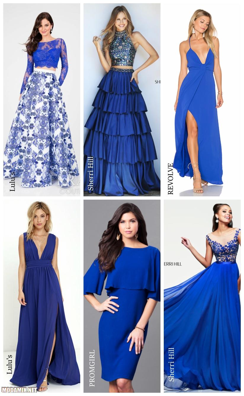 Фото модных синих платьев