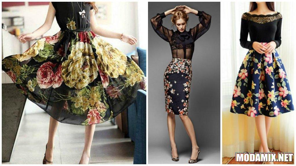 С чем носить черную юбку с цветочным принтом