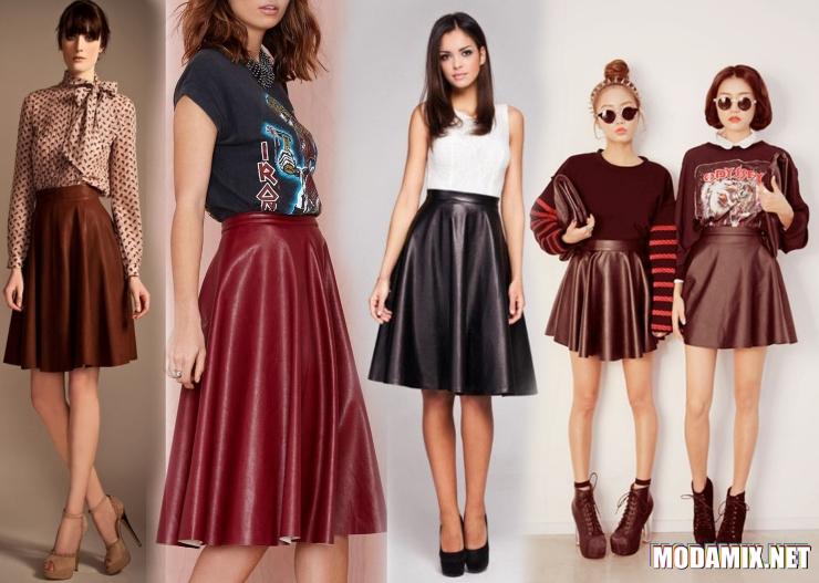 С чем можно носить кожаную юбку фасона солнце клеш?