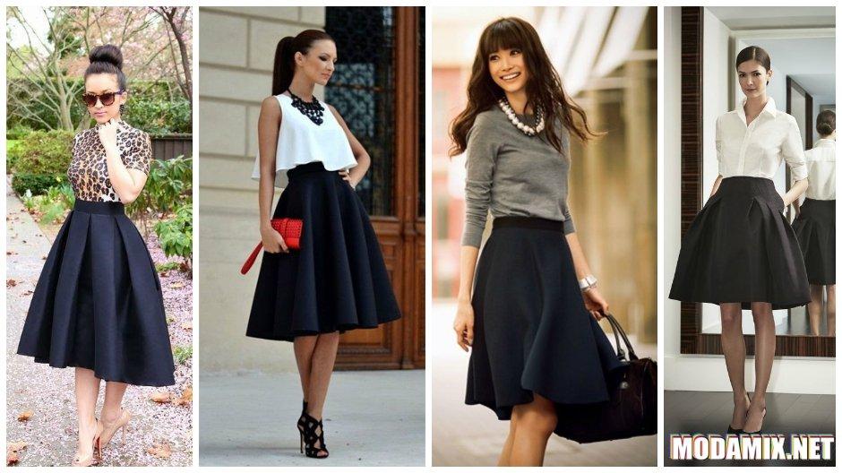 С чем носить черную юбку солнце?