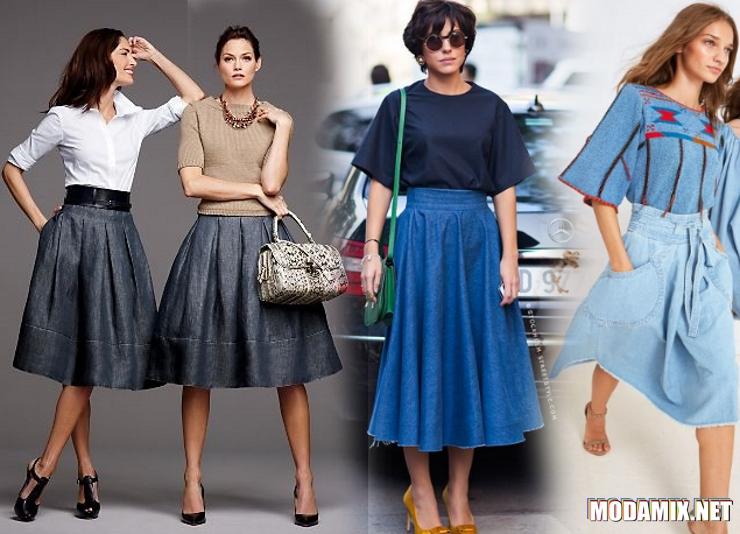 Джинсовая юбка солнце - с чем носить и как сочетать?