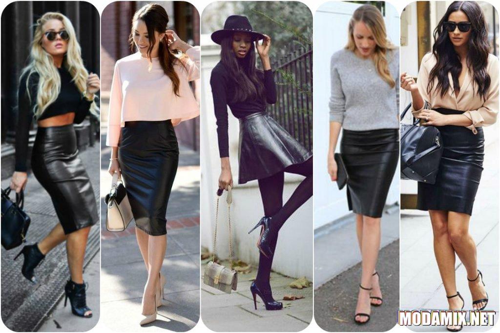 С чем носить черную юбку из кожи?