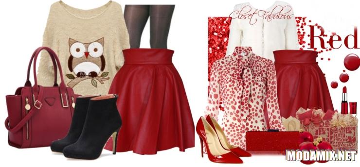 Сочетание красной кожаной юбки с блузами и обувью