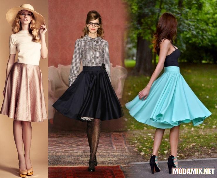 С чем носить юбку солнце миди?