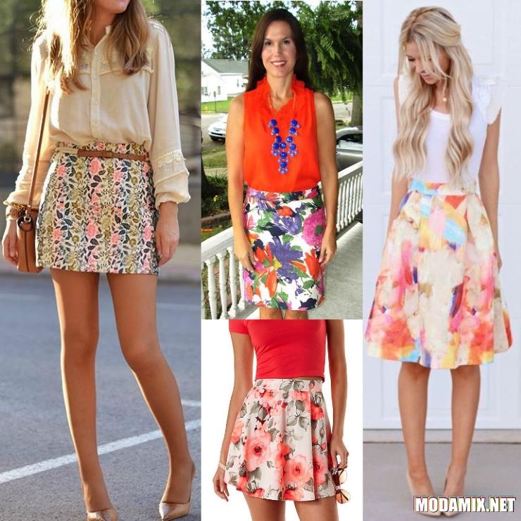С чем носить юбку с цветочным принтом кораллового оттенка?