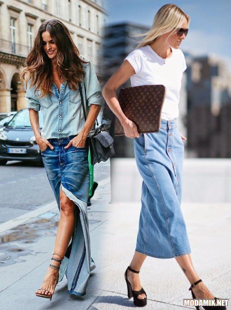 С чем носить длинную джинсовую