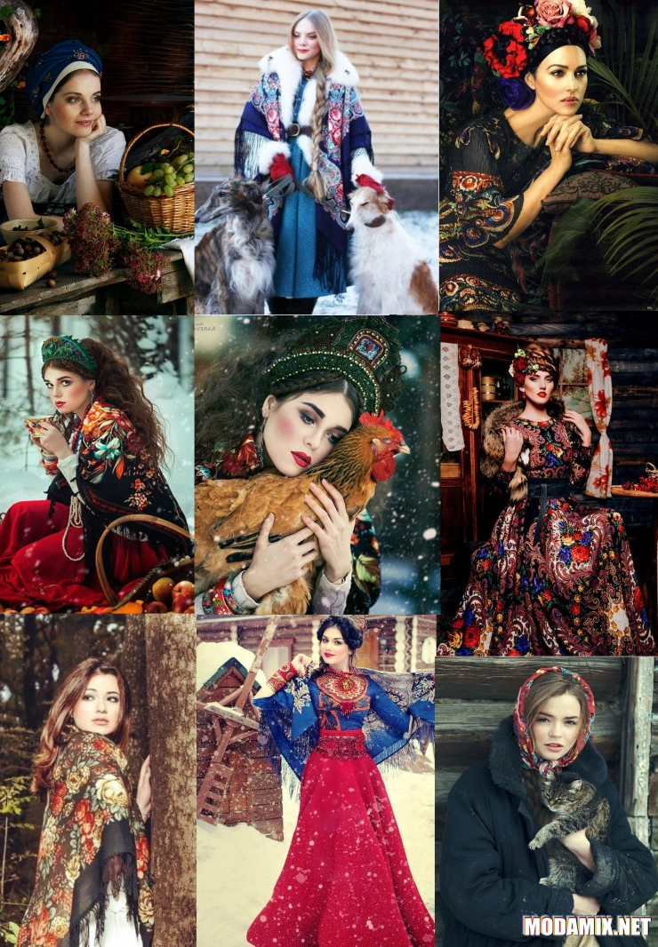 Русский стиль в глянцевых фотосессиях