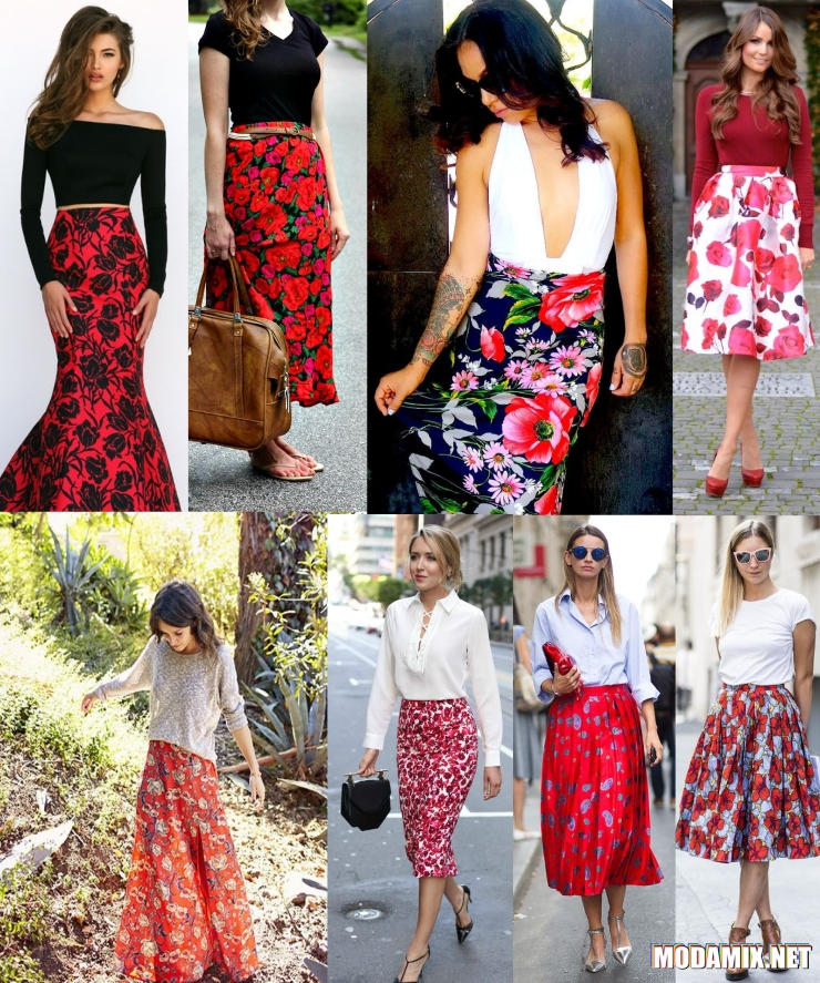 С чем носить красную цветочную юбку?