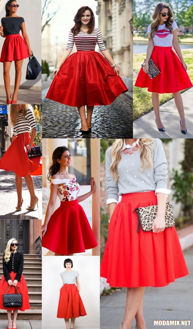 С чем носить красную юбку солнце?