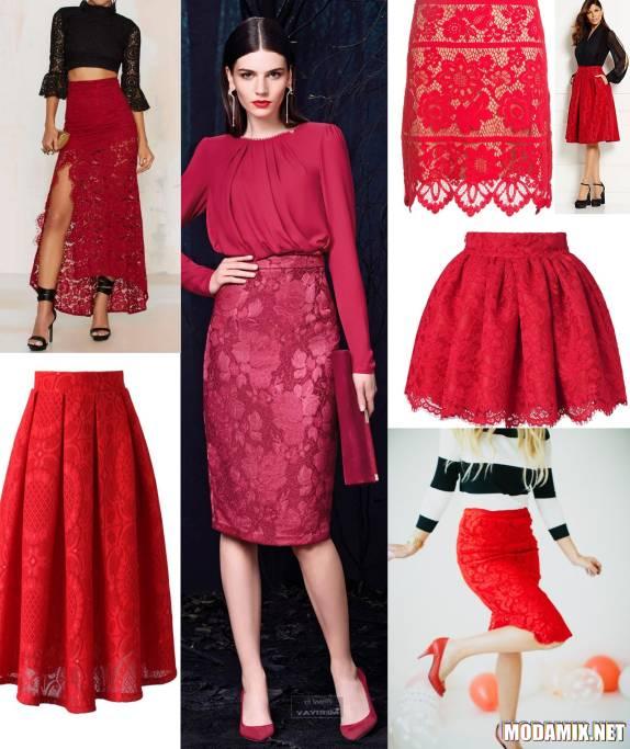 С чем носить красную кружевную юбку?