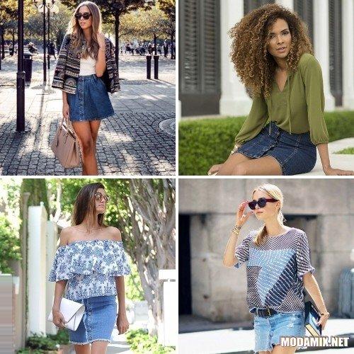 С чем сочетать джинсовую юбку?