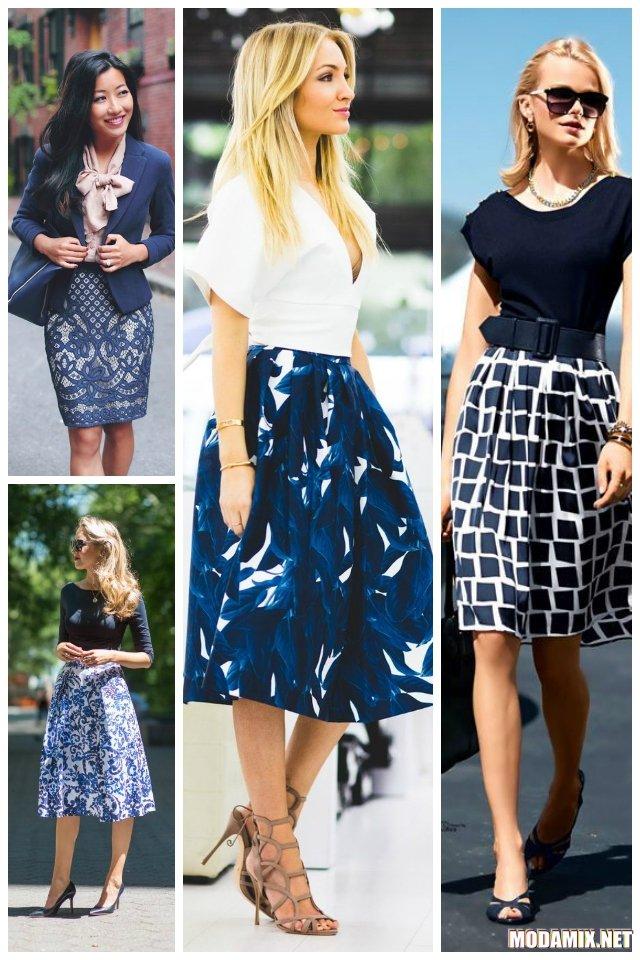 С чем носить синюю юбку с белым принтом