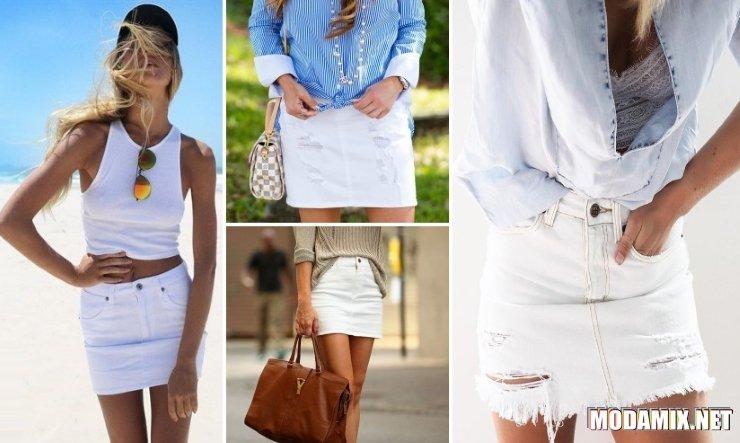 С чем носить джинсовую белую юбку