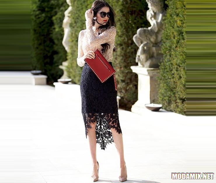 Черная кружевная юбка с чем носить и как сочетать