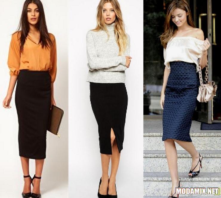 С чем носить миди юбку черного цвета?
