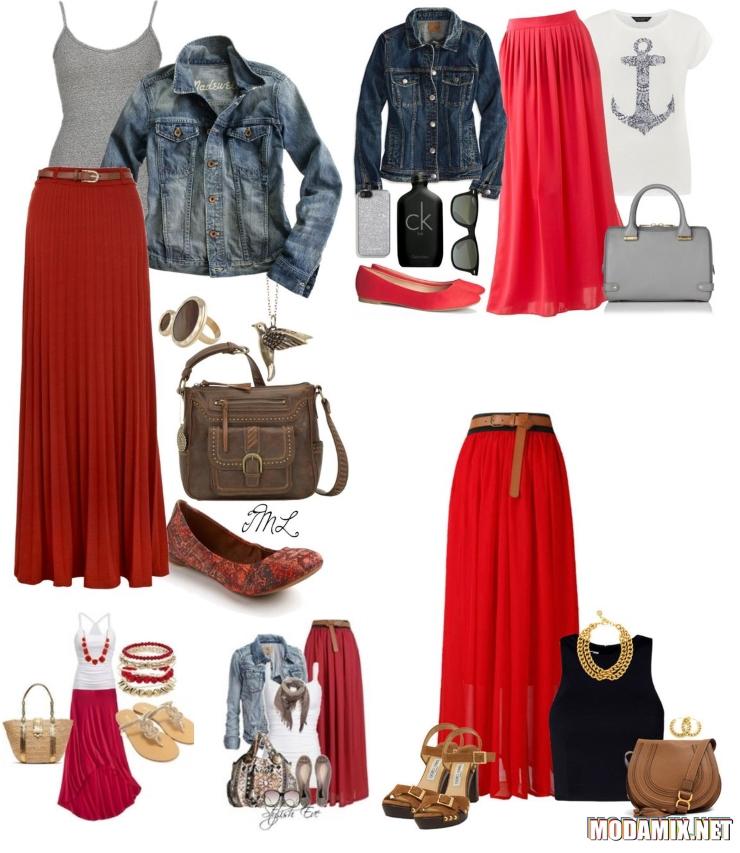 Макси юбки красного цвета