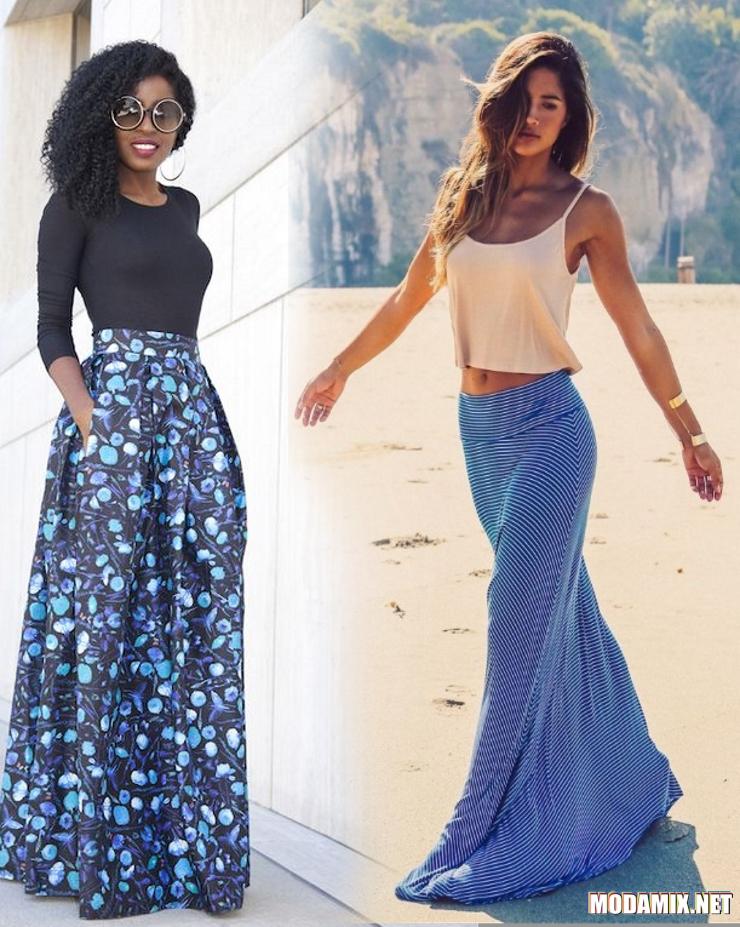 С чем носить длинную синюю юбку?