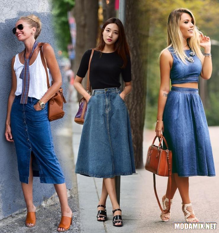 С чем носить джинсовую миди юбку?