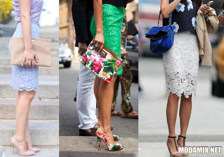 Кружевная юбка карандаш с клатчем и обувью