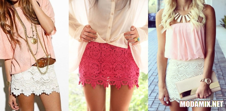Короткая кружевная юбка