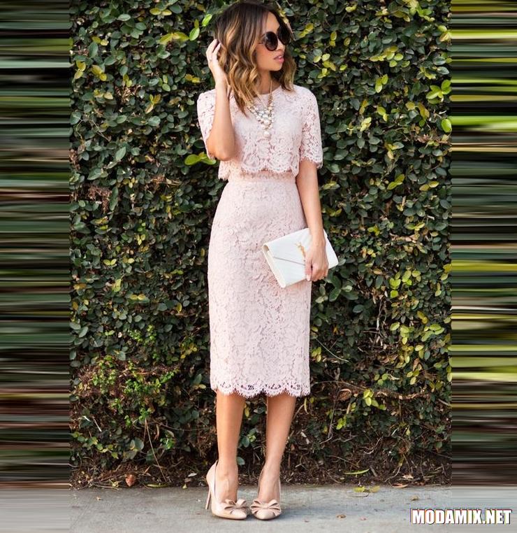 С чем можно носить кружевную юбку пастельного оттенка