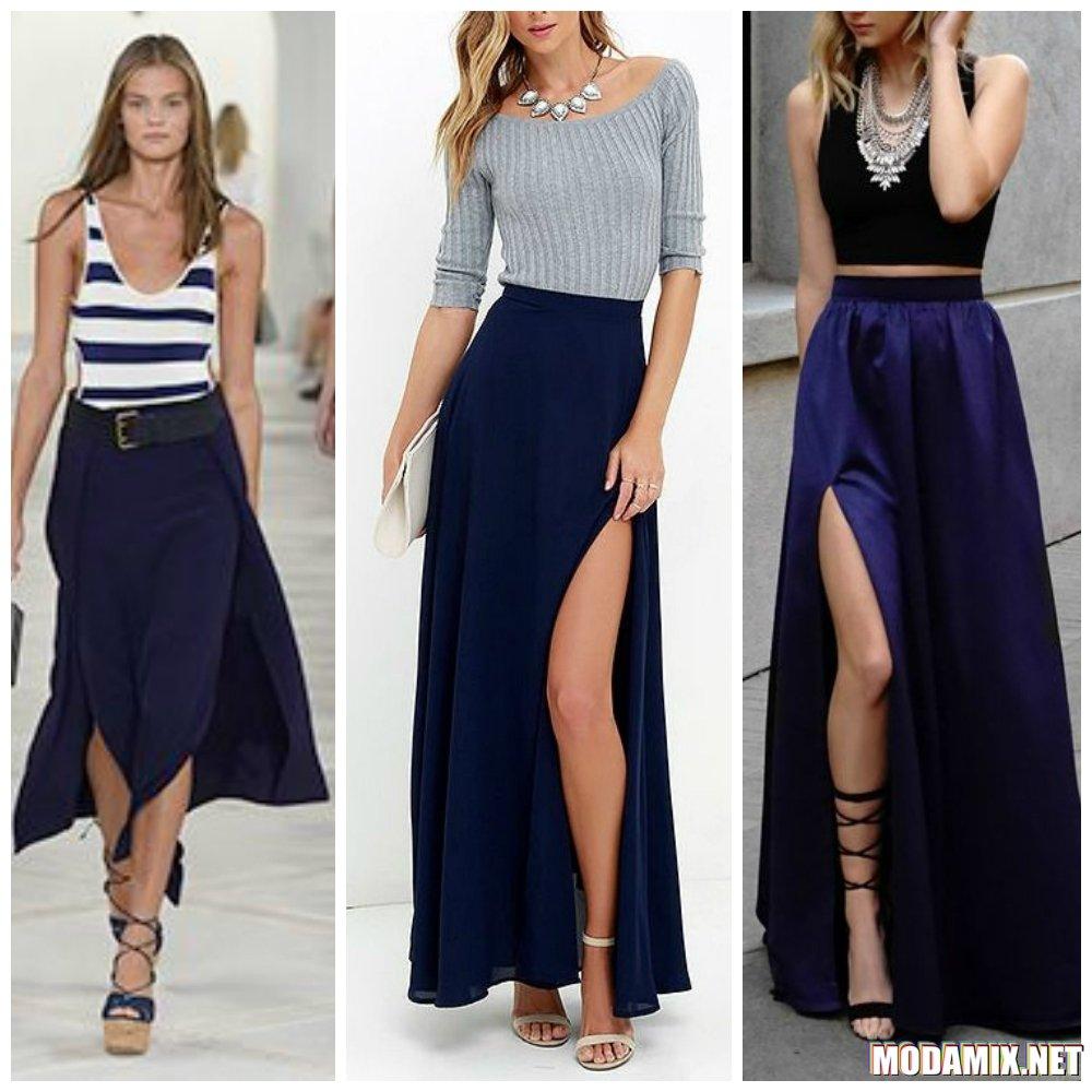 С чем сочетается макси юбка синего цвета?