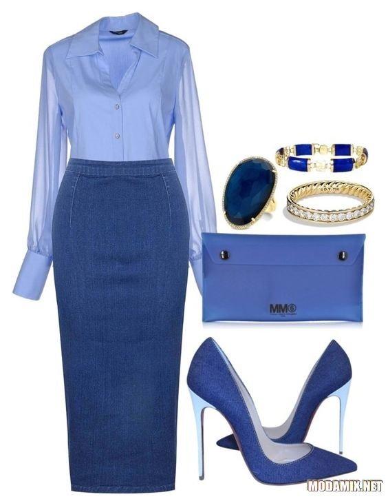 С чем надеть миди юбку в синей гамме?