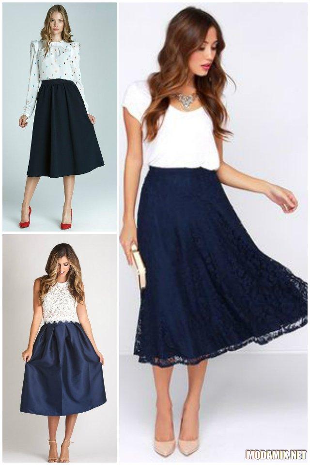 С чем можно надеть синюю юбку?