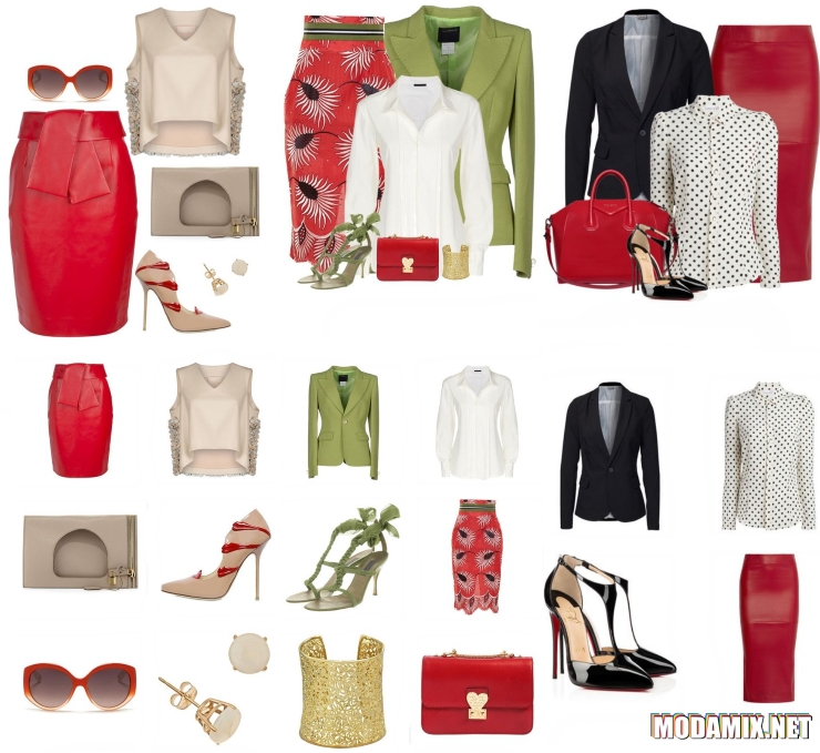 Красная юбка карандаш в комплектах одежды