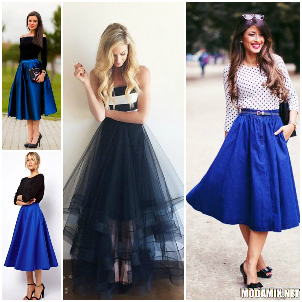Синяя юбка солнце и её сочетание с одеждой
