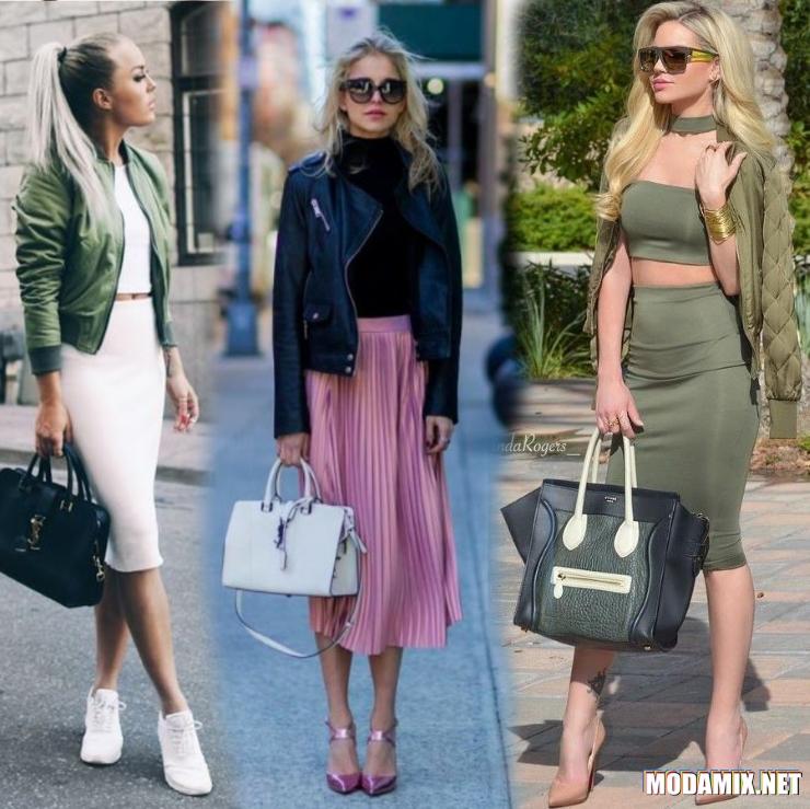 С какой курткой носить миди юбку?