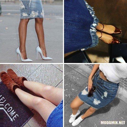 С какой обувью носить джинсовую юбку?