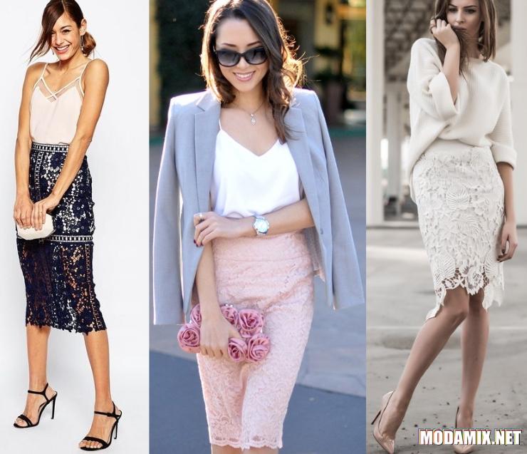 С чем носить кружевную юбку карандаш?